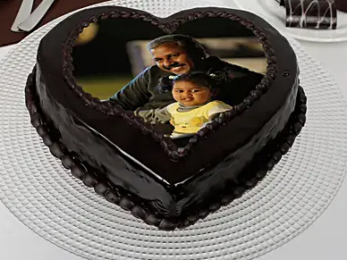 Heart Shaped Chocolate Truffle Photo Cake For Dad