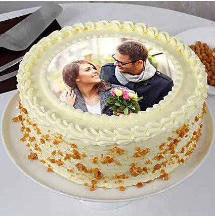 Round Butterscotch Photo Cake