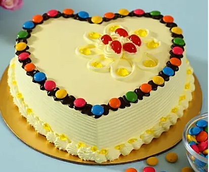 Heart Shaped Butterscotch Gems Cake