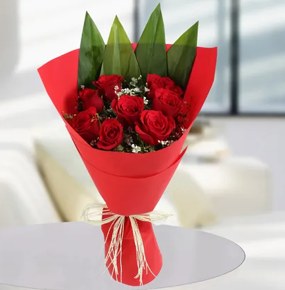 10 RED ROSES BOUQET 114
