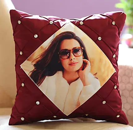 Stone Studded Personalised Cushion Cover