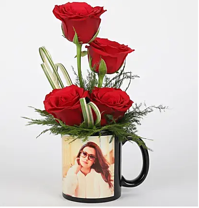 Red Roses in Personalised Black Mug