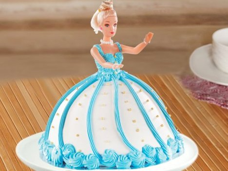 Blue Dress Barbie Cake